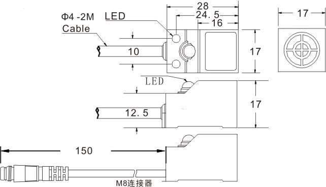 FSN05-N/N2/P/P2通用接近开关尺寸图