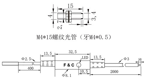 F3C-04WSM0.8圆形接近开关尺寸图