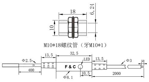 F3C-10WSM02圆形接近开关尺寸图