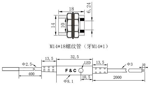 F3C-14WSM04圆形接近开关尺寸图