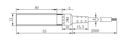 DR12-N/N2/P/P2/NC/PC (/15D)圆型光电开关/传感器尺寸图