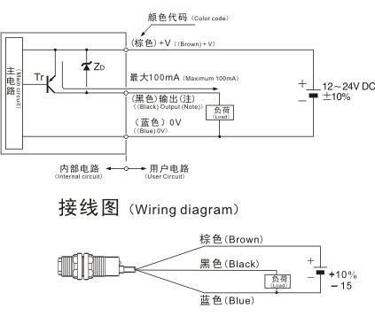 DR12-S圆型光电开关/传感器接线图二