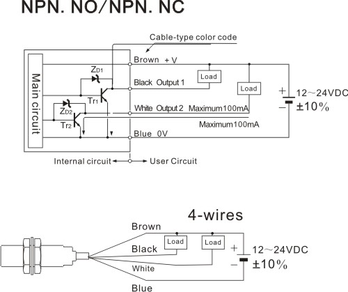 DR18_NPN_4 wires_en dr18 series cylinderical photoelectric sensors photo sensors npn proximity sensor wiring diagram at n-0.co