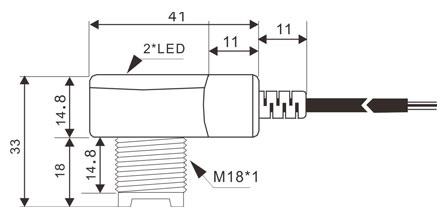 QR18系列光电开关尺寸图