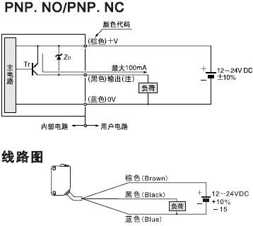 背景抑制,距离设定型光电开关接线图二