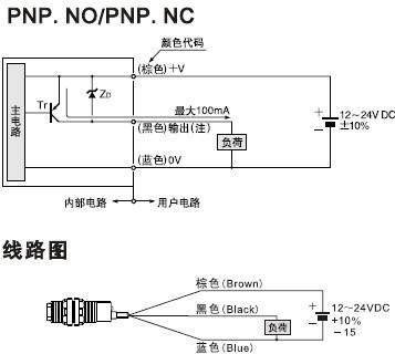 圆型光电开关/传感器接线图二